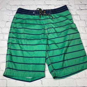 Sperry Boardshorts Green Navy Stripe Size 32